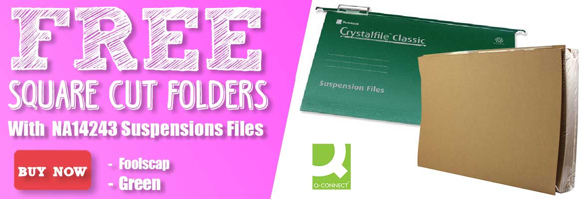 REE Q-Connect Buff Foolscap Kraftliner Square Cut Folders With NA14243