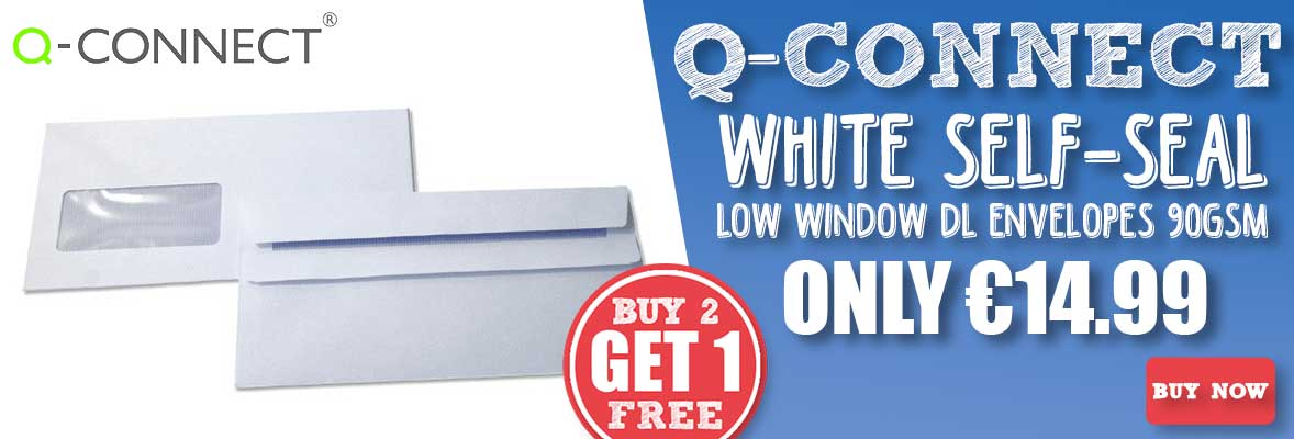 Q-Connect White Self-Seal Low Window DL Envelopes 90gsm KF3481 Buy 2 Get 1 Free