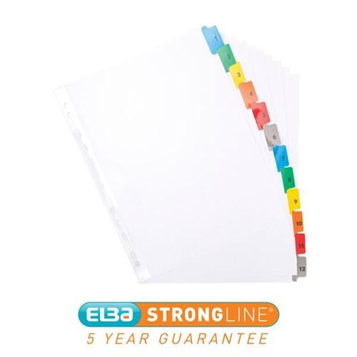 Elba 1-12 Extra-Wide Mylar Multi-Coloured A4 Index 100204627 - Numbered Index