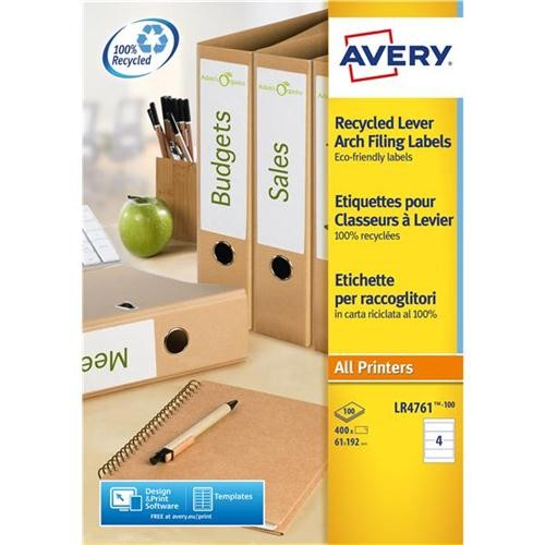 Avery Filing Label Laser Recycled 4 Per Sheet 192x61mm Ref LR4761-100 [400 Labels]