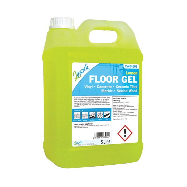 2Work 5 Litre Lemon Floor Gel 2W04569 - Floor Cleaning Detergents