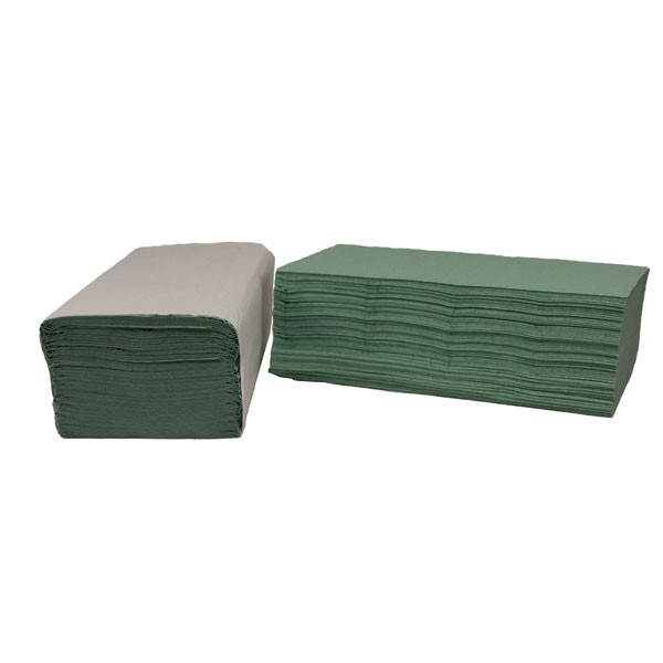 2Work I-Fold 1-Ply Green Hand Towel Pack Of 180 - Paper Hand Towels