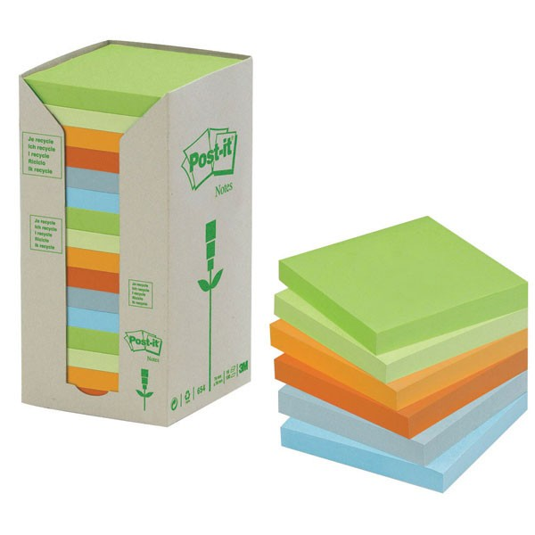 3M Recycled Pastel Post-it Pads Pack Of 16 654-1RPT