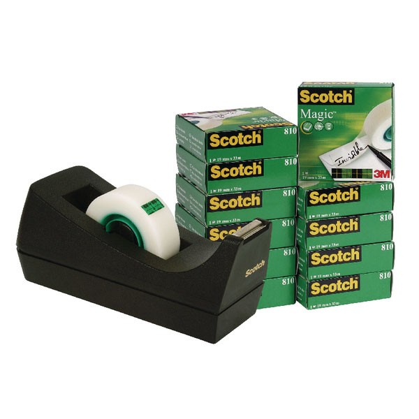 3M Pack Of 12 Scotch 810 Magic Tape 19mm x 33 Metres With Dispenser SM12