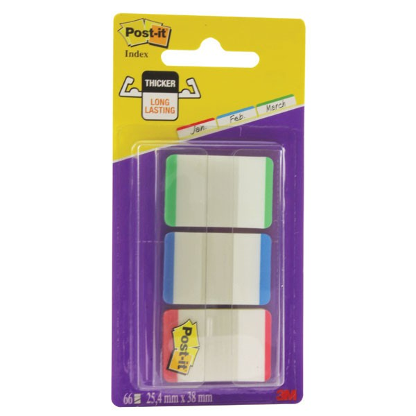 3M Post-it 1 Inch Green/Red/Blue Strong Index Tabs 686L-GBR - File Folder Tabs