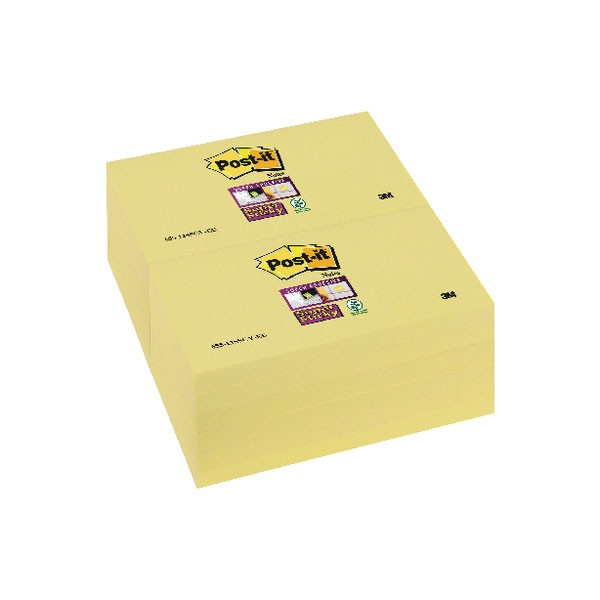 3M Super Sticky Canary Yellow Post-It Notes 76 x 127mm R330-12SSCY