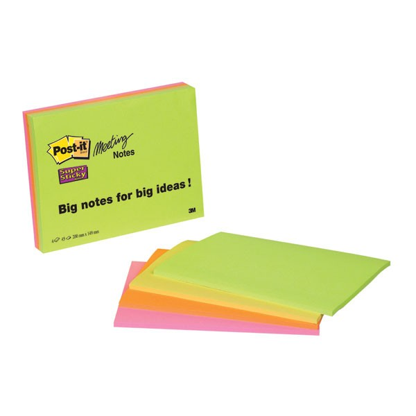 3M Super Sticky Neon Meeting Post-It Notes 200 x 149mm 6845-SSP