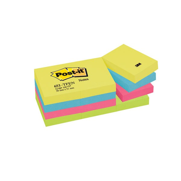 3M Post-it Energetic Rainbow Colours Notes 38x51mm 653TF