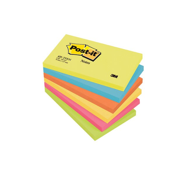 3M Post-it Energetic Rainbow Colours Notes 76x127mm 655TF
