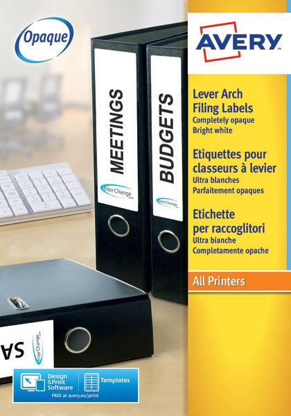 Avery Lever Arch File Label 4 Per Sheet J8171-25 - Filing Accessories