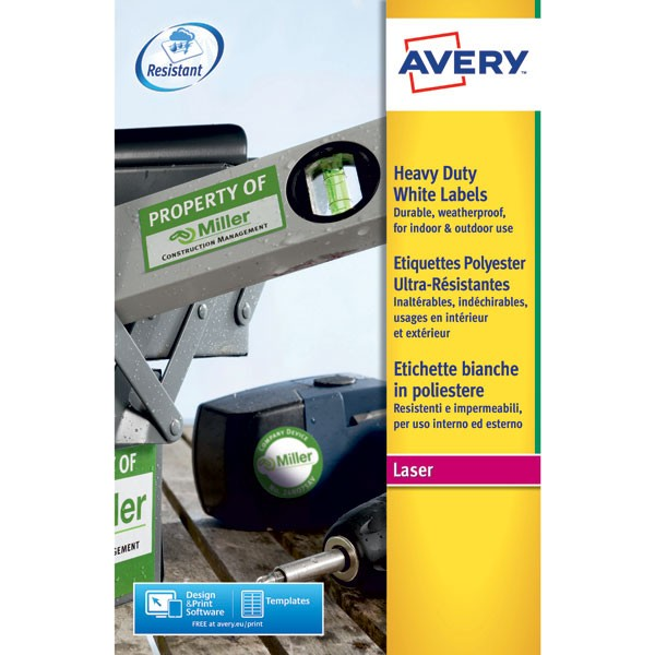 Avery Laser Label 99.1 x 139mm Heavy Duty Weatherproof 4 Per Sheet White L4774-20