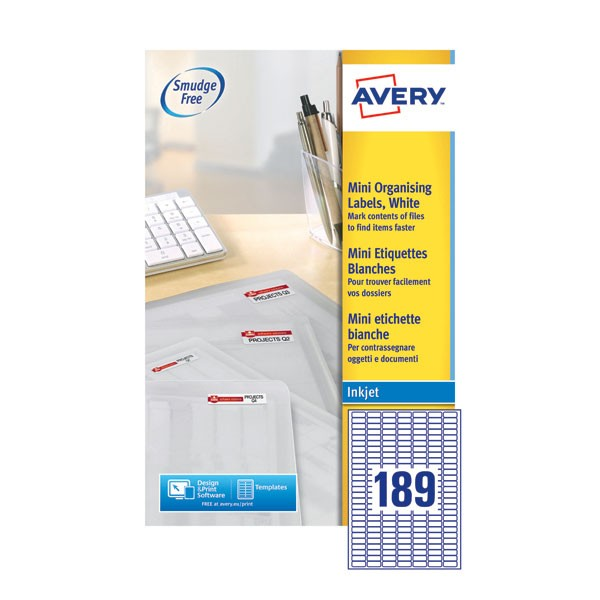 Avery Mini Inkjet Label 25.4 x 10mm 189 Per Sheet J8658-25