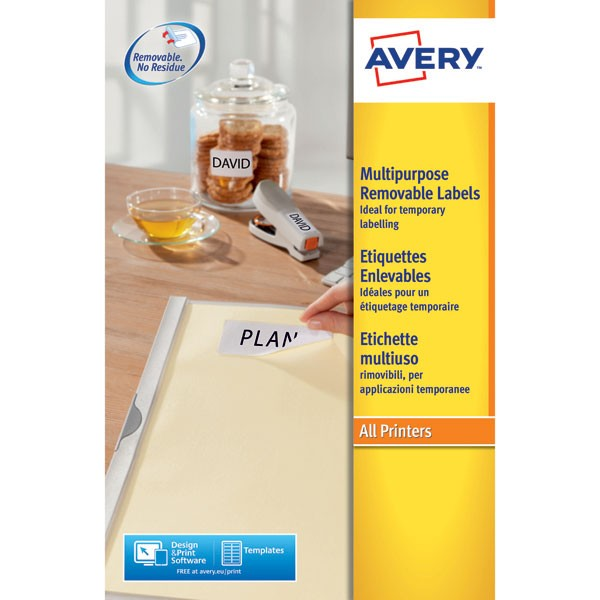 Avery Removable Laser Label 12 Per Sheet L4743Rev-25 (Fpc)