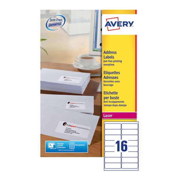 Avery Jam-Free Laser Label 99.1 x 34mm 16 Per Sheet White L7162-40 (Fpc)