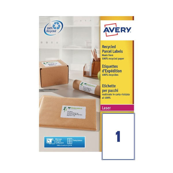 Avery Laser Shipping Label White 199.6 x 289.1mm 1 Per Sheet Lr7167-100