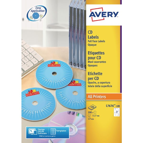 Avery Full Face CD/DVD Laser Label 2 Per Sheet L7676-25
