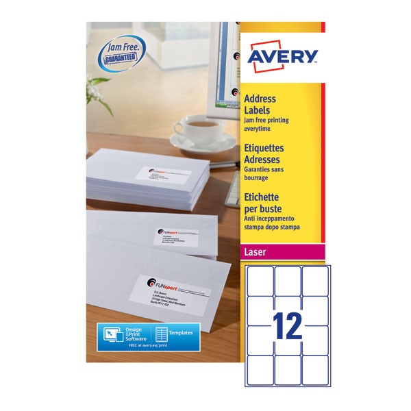 Avery Jam-Free Laser Label 63.5 x 72mm 12 Per Sheet White L7164-250 (Fpc)