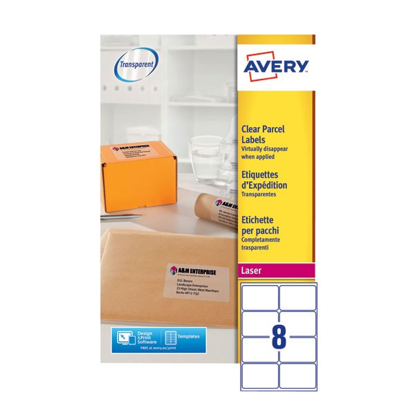 Avery Clear Laser Label 99.1 x 67.7mm 8 Per Sheet L7565-25