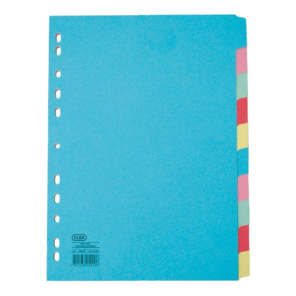 Elba A4 10-Part Card Divider Assorted 100080806 - File Dividers