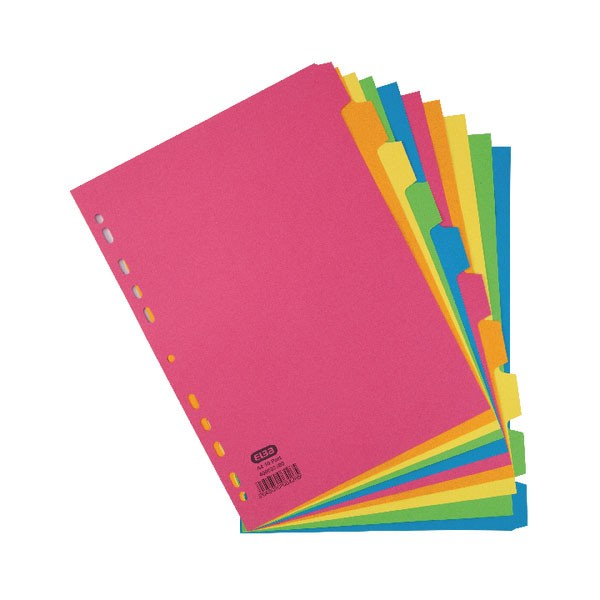 Elba Assorted 10-Part Manilla A4 Dividers 240GSM 400008300 - File Dividers