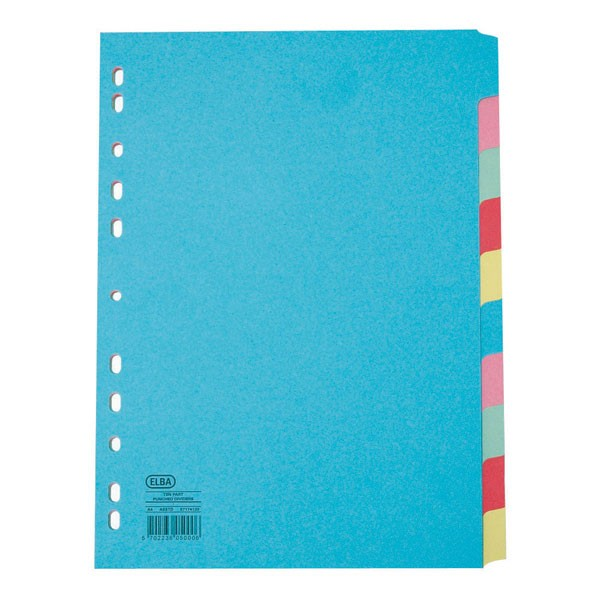 Elba Assorted A4 Extra-Wide 10-Part Card Dividers 100080807 - File Dividers