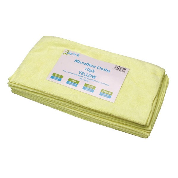 Contico Microfibre Cloth 34 x 34cm Yellow Pack of 10 EM34YL - Cleaning Cloths