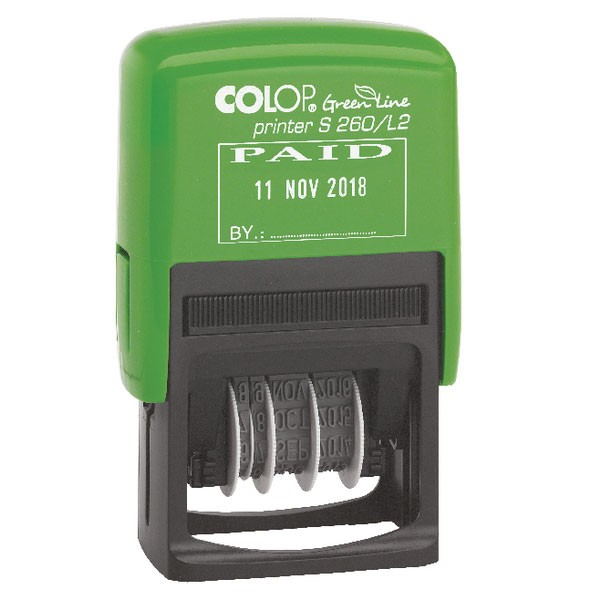 Colop Green Line Paid Dater Stamp GLS260L2 - Word Stamp