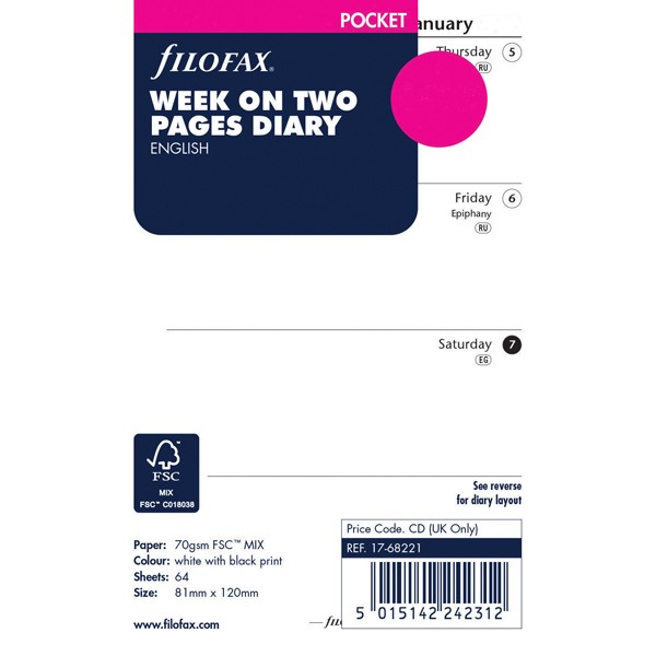 Filofax Pocket Week To View 2020 Refill 20-68221
