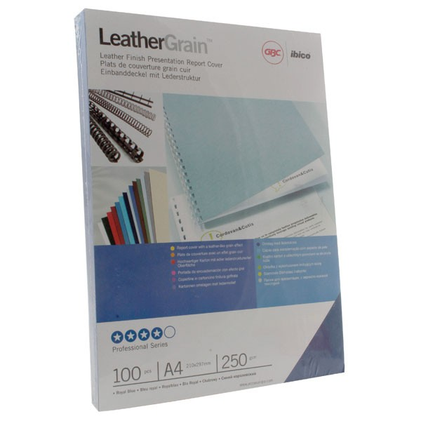 Acco Gbc A4 Binding Covers 250Gsm Textured Leathergrain Plain Royal Blue CE040029