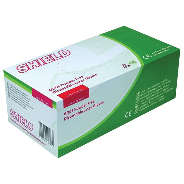 Shield Medium Powder-Free Latex Gloves Pack Of 100 GD05 - Protective Gloves