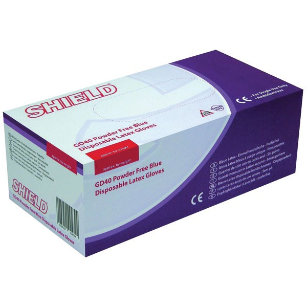 Shield Large Powder-Free Latex Gloves Pk 100 Gd40 - Protective Gloves