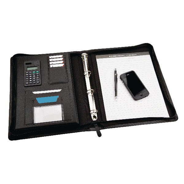 Monolith Leather Look Zipped Ring Binder With A4 Pad A4 Black 2827