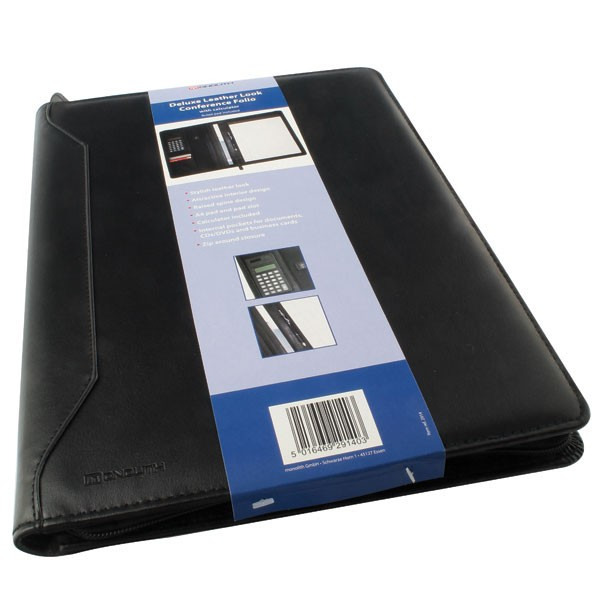 Monolith Black Conference Folder With A4 Pad And Calculator 2914 - Conference Folder