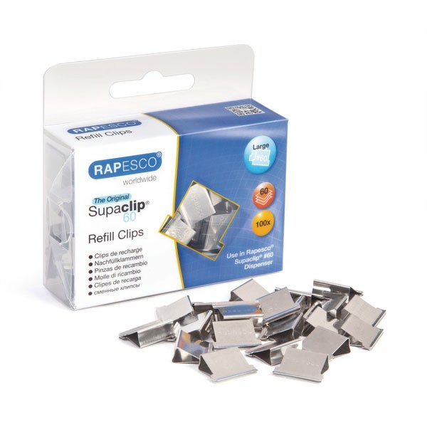 Rapesco Stainless Steel Supaclip 60 Clips Pack Of 100 CP10060S