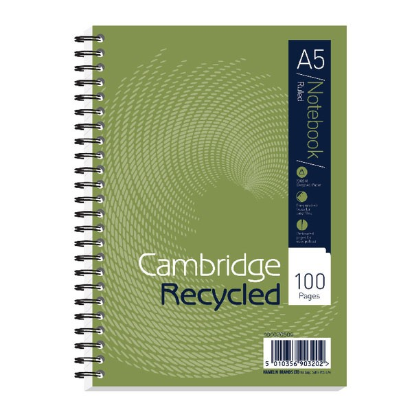 Cambridge 100 Page Recycled A5 Wirebound Notebook 400020509