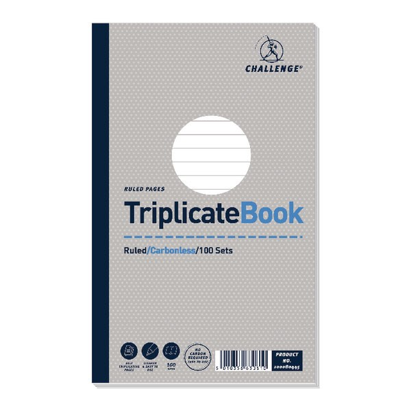 Challenge Carbonless Ruled Feint Triplicate Book 210x130mm 100080445
