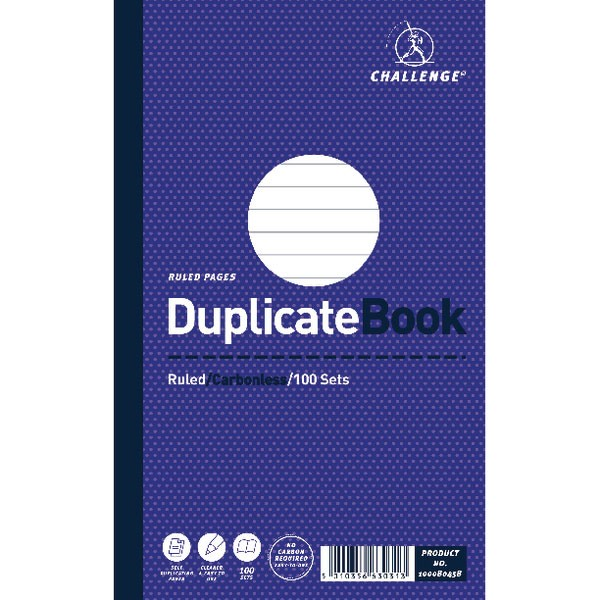 Challenge Ruled Feint Carbonless Duplicate Book 210X130mm 100080458