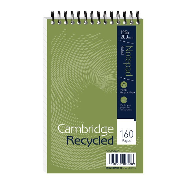 Cambridge Perforated Head Bound Recycled Wirebound Notebook 125 x 200mm 100080468