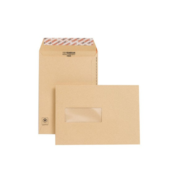 New Guardian C5 Envelopes Window Pocket Peel and Seal 130gsm Manilla (Pack of 250) F26639