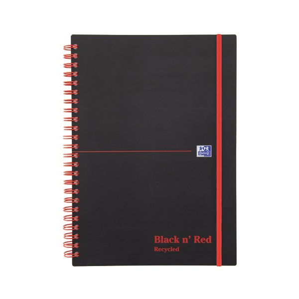 Black N Red 140 Page A5 Elasticated Feint Recycled Wirebound Notebook 846350963