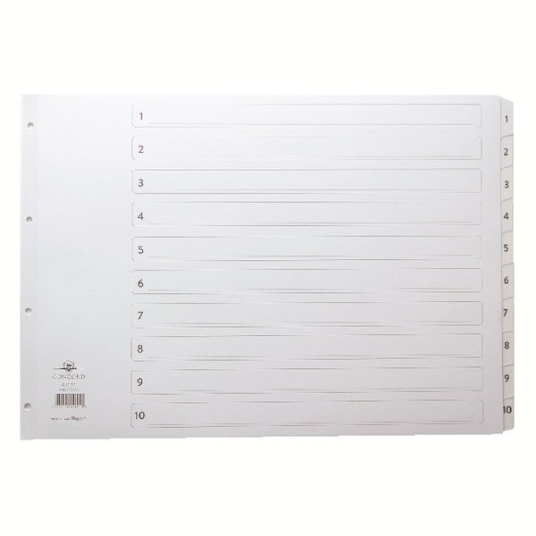 Concord Classic 1-10 White Board A3 Index With Clear Mylar Tabs - Numbered Index