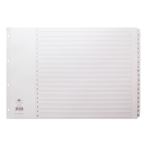Concord Classic 1-20 White Board A3 Index With Clear Mylar Tabs 04801/CS48 - Numbered Index