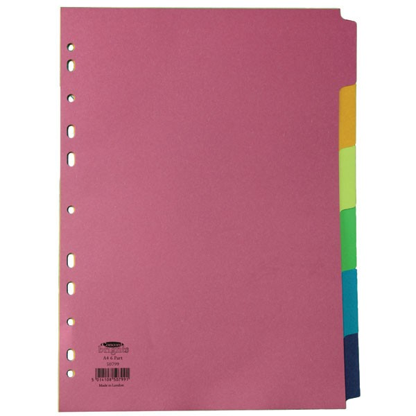 Concord Bright A4 Divider 6-Part Assorted 50799 - File Dividers