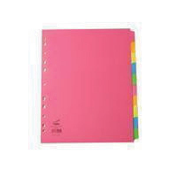 Concord Extra-Wide A4+ 10-Part Assorted Bright Subject Dividers 52299 - File Dividers