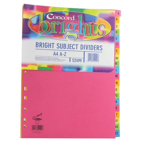 Concord A4 Assorted Bright Subject A-Z Dividers 52499
