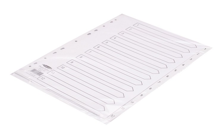 Concord 1-12 Polypropylene White A4 Index - Numbered Index
