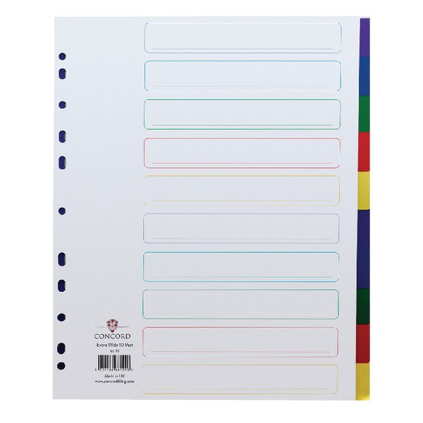 Concord 10-Part Multi-Clour Extra-Wide Plastic A4 Dividers 66199 - File Dividers