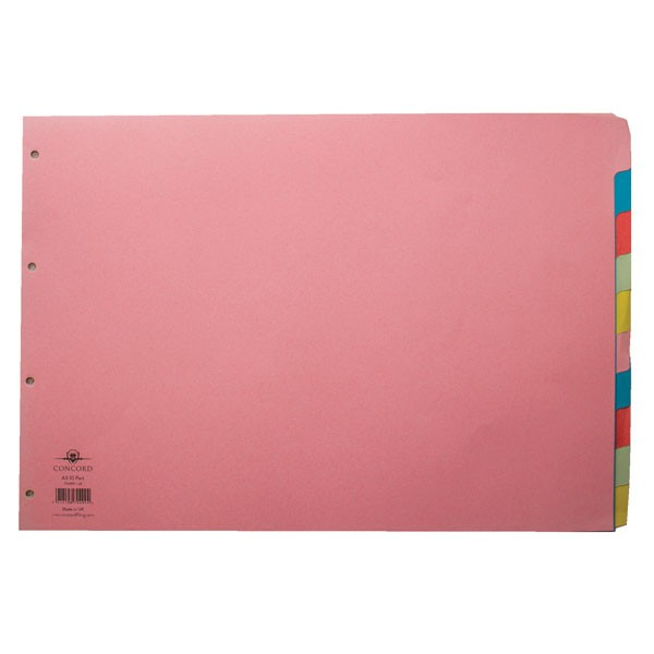 Concord 10-Part Assorted A3 Oblong Subject Dividers 70499/J4