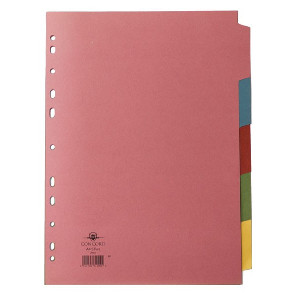 Concord Subject Divider 5-Part A4 71190 - File Dividers