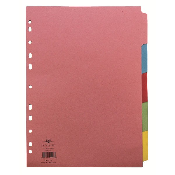 Concord Subject Divider A4 5-Part 71199/J11 - File Dividers